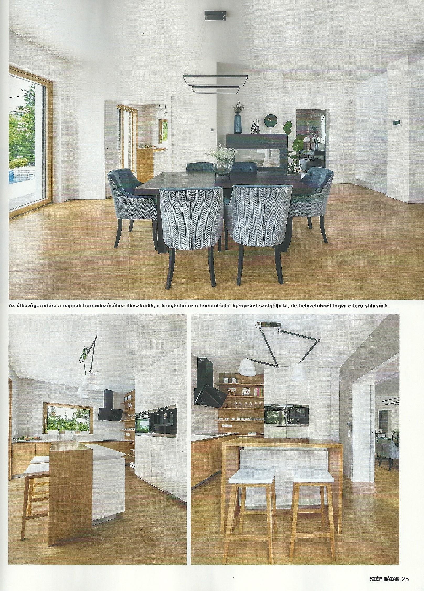 a SZÉP HÁZAK című építészeti és lakberendezési szaklapban szereplő referenciánk